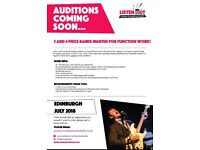 Three and Four Piece Bands Wanted for Function Work - Edinburgh