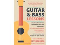Guitar & Bass lessons available for beginners online!