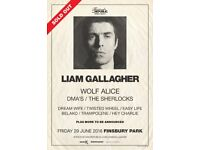4x Liam Gallagher standing tickets, Finsbury Park London, Friday 29th June 2018