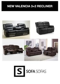 NEW ROMA RECLINER SET 3+2 BLACK OR BROWN