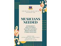 Church in East London looking for musicians (keyboardist, bass and lead guitarist, brass, strings)