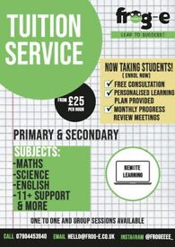 Private Tuition (Maths, English, Science)