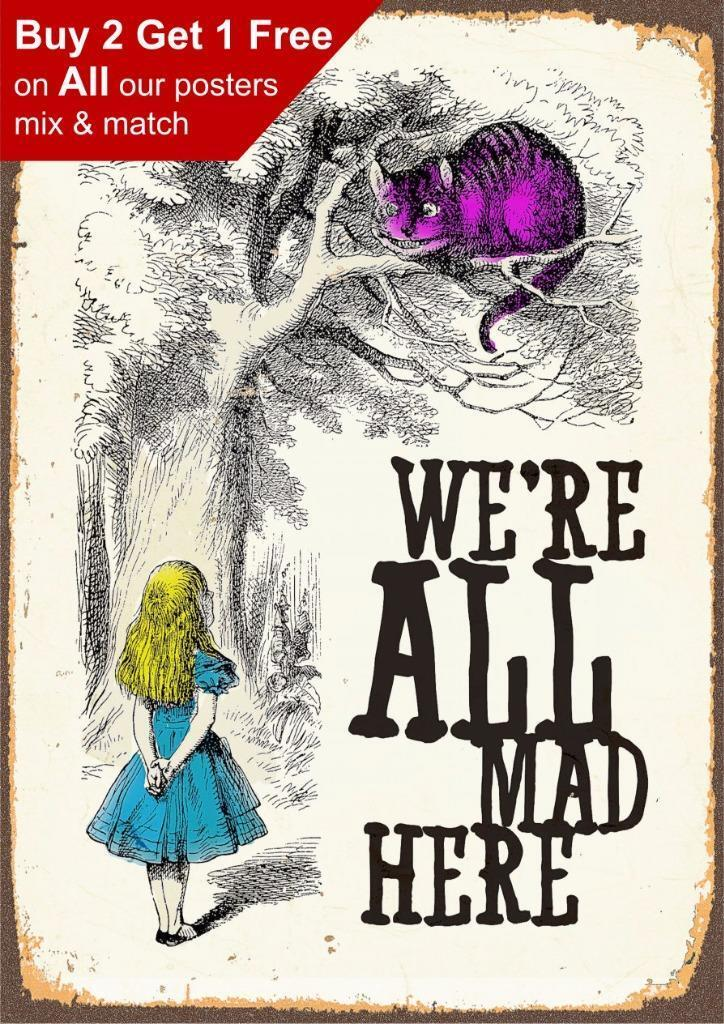 Alice In Wonderland we're all mad here - Vintage Classic Poster Print