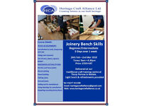 5 Day Bench Joinery Skills Course 26 Feb- 2 Mar 2018 Heritage Craft Alliance, Bedale, DL8 2PR