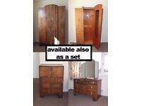 set of dressing table, chest of drawers (tall boy) and wardrobe - vintage - collection only - L17