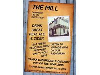 Assistant Manager sought for the Award Winning Mill Pub in Cambridge