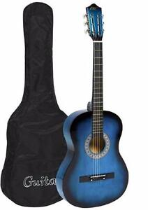 "SUPER CUTE - Cowboy 38"" Acoustic Guitar Cutaway Design With Guitar Case, Strap and Guitar Pick - Blue or Black Colors"