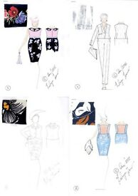 Fashion Sketches + Patterns For Sale