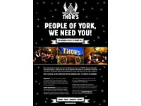 New team of Warrior's needed for THOR'S tipi bar !