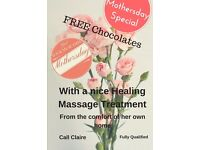 Spoil your Mum this Mothersday with a lovely Massage Treatment in her own home and FREE Chocolates!