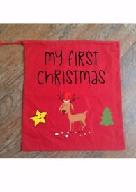 CHRISTMAS SACK BABY TODDLER NEWBORN Cute Stocking Merry Bag Gift Present Funny