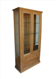 *NEW* Solid Oak Glazed Display Cabinet with Lights