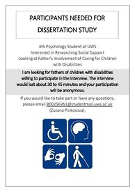 PARTICIPANTS NEEDED FOR DISSERTATION STUDY (FATHERS OF CHILDREN WITH DISABILITIES)