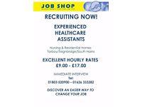 Experienced Healthcare Assistants - Torbay, South Hams & Teignbridge, £9.00 PH +