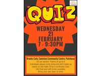 Quiz Night Wednesday 21st February at Brooks Cafe, Patchway - fundraising for local charity projects