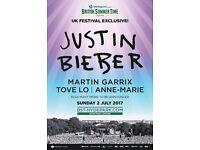 Justin Bieber British Summer time Festival x2 tickets