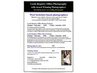 Wedding Photographer - Registry Office Weddings - special discounts - offers - low prices midweek