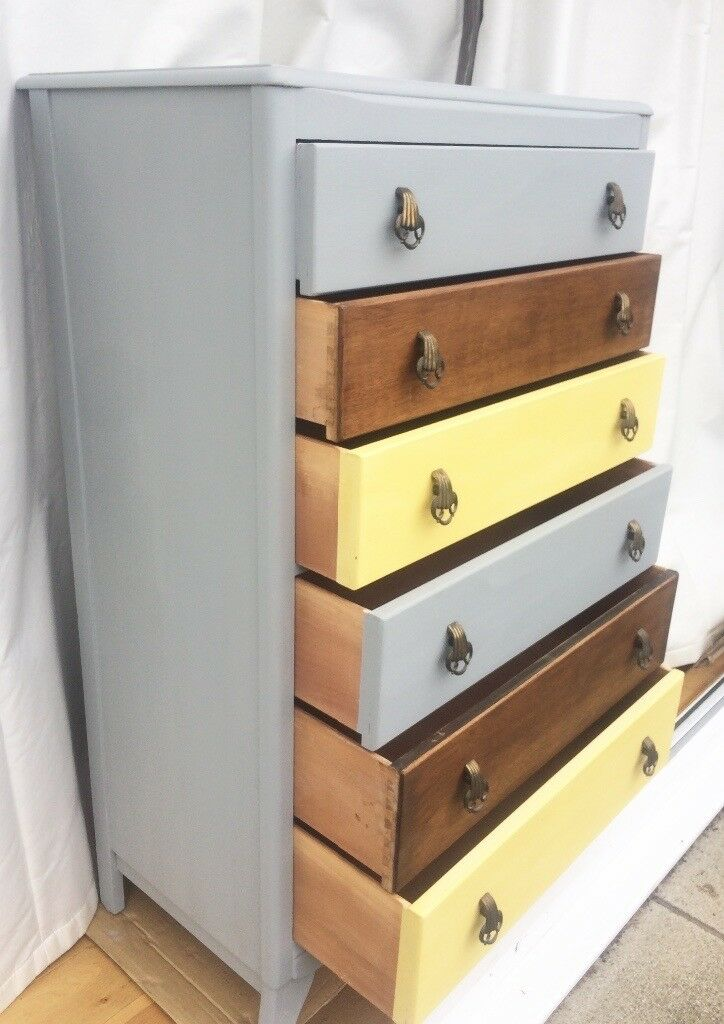 Mid Century Chest of Drawers Vintage Retro Upcycled Grey& Yellow Solid Wood