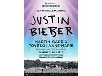 2 x tickets to BST Justin Bieber, Martin Harris, Anne-Marie & Tove Lo - Sunday 2nd July