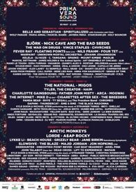 2 x Primavera Sound 2018 Full Weekend Ticket