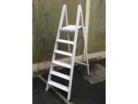VINTAGE WOODEN FIVE FOOT 5 TREAD STEP LADDERS
