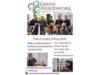 Make a 3 legged, creepie Milking Stool, with Green Woodwork Ireland, Minnowburn, Belfast