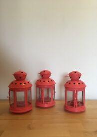 Coral/ pink Lantern Tealight holders x3