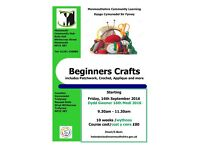 Beginners Craft Class starting at Monmouth Community Hub this September 2016