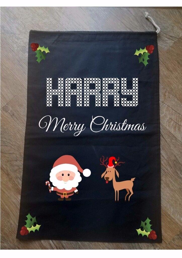 CHRISTMAS SACK PERSONALISED Stocking Black Bag Gift Present Kids Sweater Jumper