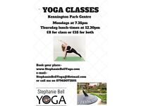 Yoga classes in Kennington Monday evenings 7.35 and Thursday lunch-times 12.30