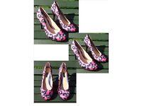 Brand new Next pink leopard pattern small platform court shoe size 6