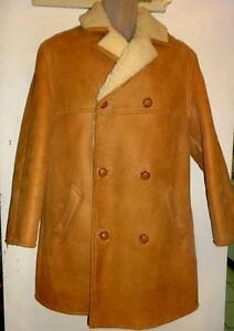 MENS M 38 40 SHEARLING COAT // MADE UK // 100% SHEEPSKIN WINTER JACKET BROWN VTG