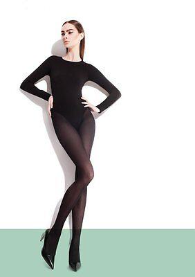 Fiore PAULA 40 Den Tights Nylons Pantyhose Hosiery [Size S-XXL] Black - Tan Hosiery
