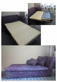 Chaise metal action sofa bed, purple VGC