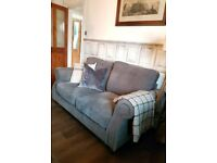 Country style / chesterfield 2 seater grey fabric sofa excellent condition