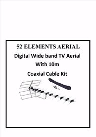 52 Elements AERIAL Digital Wide band TV Aerial With 10m Cable Kit sky free sat pc iphone new