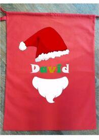 CHRISTMAS SACK PERSONALISED Stocking Hessian Bag Santa Beard Hat Face Gift Present Kids