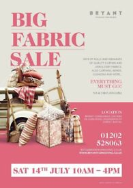 Everything must go fabric Sale. Tomorrow!! Sat 14th July 10am - 4pm