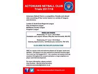 ACTONIANS NETBALL CLUB - Looking for players of all abilities for next season!