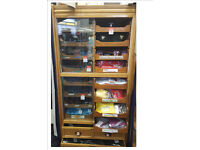 Antique Haberdashery Cabinet - 16 drawers with glass front doors and 2 large lower drawers