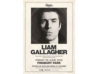 2 x Liam Gallagher Finsbury Park tickets £80 for both