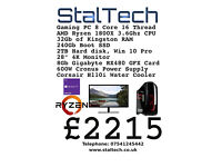 "AMD Ryzen 1800X Gaming PC 32Gb RAM Windows 10 Pro 250Gb SSD 2TB Hard Disk with 28"" 4K monitor"
