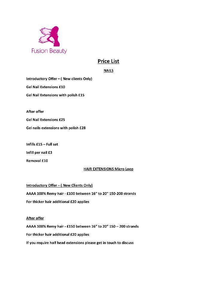 Hair and gel nail extensions price list | in Drayton, Norfolk | Gumtree