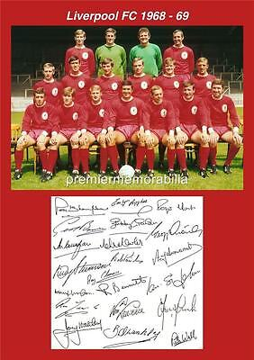LIVERPOOL FC 1968-1969 BILL SHANKLY BOB PAISLEY EMLYN HUGHES SIGNED (PRINTED)