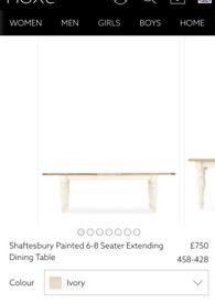 Cream Shaftesbury 6-8 Seater Extending Dining Table from Next