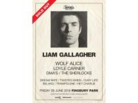 2x FACE VALUE Liam Gallagher Tickets Finsbury Park 29th June 2018