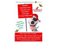Wadars -animal rescue Christmas fair @Ferring Village Hall Saturday 11th November 11-3 pm.