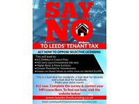 Say NO to Leeds Tenant Tax 1, 2, 3, 4 Bed Homes