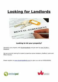 Looking for properties for students in Aylesbury, Milton keynes, Luton and Bedford!