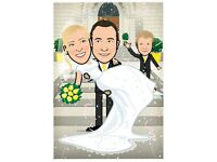 Wedding Portrait - Illustration - Cartoon - Illustrator - Birthday